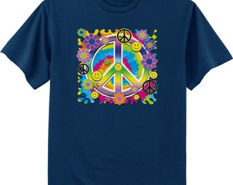 Peace sign shirt - flower child 60's hippie