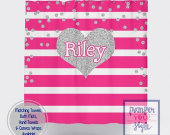 Hot Pink Stripe and Silver Printed Glitter Heart Shower Curtain - Personalized Silver Glitter Shower Curtain