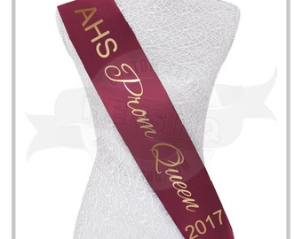 Personalized Prom Queen sash - over 20 colors to choose from!