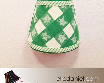 Decorative Night Lights: Green and White Night Light with Vintage Fabric - Fabric Night Lights