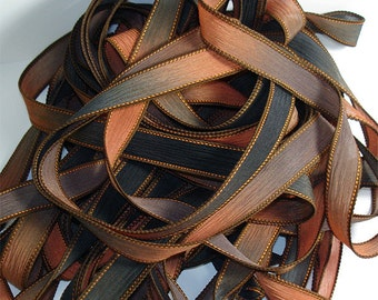 "Copper Canyon  42"" hand dyed ribbon// Wrist Wrap Bracelet Silk Ribbon// Silk Wrist Wrap Yoga Bracelet Ribbons//By Color Kissed Singles"