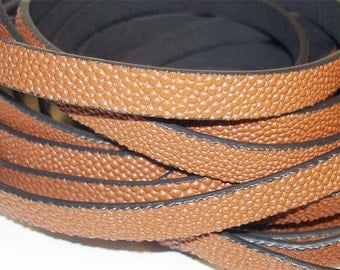 1Yd. SIENNA CAVIARE textured  Flat Leather//Embossed 10MM Genuine Flat Leather Cord//1Yd. 10MM X 2MM Flat Leather Cording