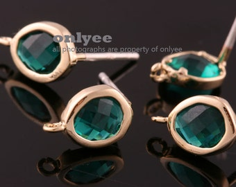 2pcs/1pair-Bright Gold plated Brass faceted New Round glass 925 sterling silver post earrings-Emerald(M394G-F)