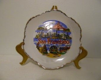 San Francisco, California Souvenir Plate with Golden Gate Bridge, Cable Car, Cliff House and China Town Shown