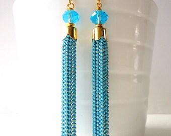 Tassel Earrings, Sky blue earrings, Turquoise earrings, Drop earrings, Chain earrings, long earrings, glam earrings, summer trends 2018