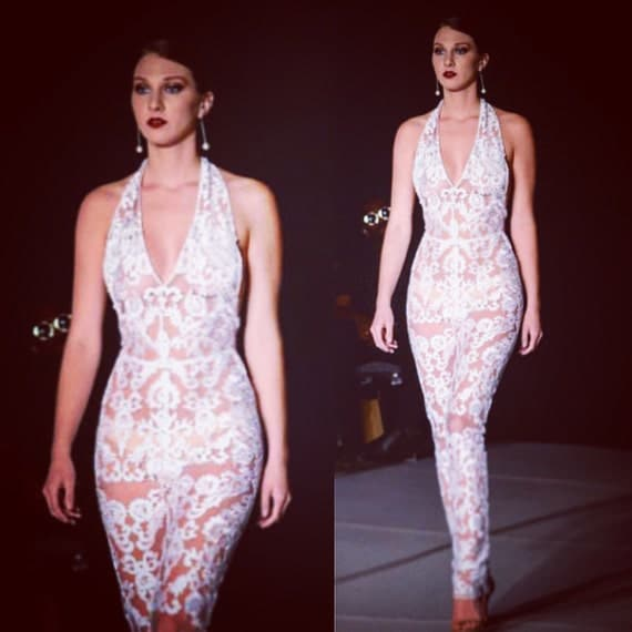 Irina Shabayeva Couture  lace jumpsuit. Comes in white, black , nude lace . (Nude lining)