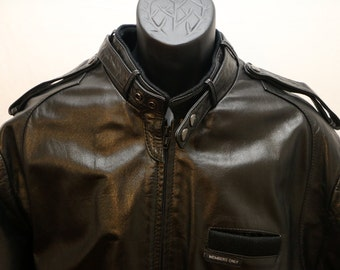Members Only Jacket Black leather Bomber Cafe Racer Size Large