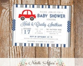 Gray and Light Navy Red Card Stripes and Polka Dots Baby Shower invitation - choose your colors - Car Baby Shower