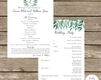 Wedding Program - Script Font - Leafs and Greenery Wedding Program - Ceremony Program - Wedding Stationery - Program Fan