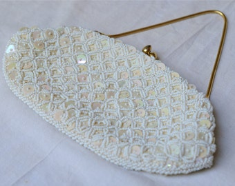 vintage 1950s white sequin and beaded bag