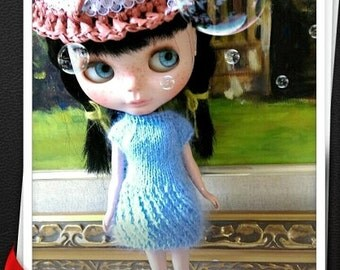 Baby blue knitting bubble dress for blythe and similar size dolls