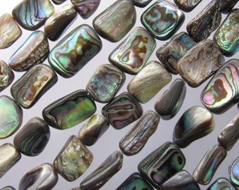 "ABALONE SHELL 9-12mm Rectangle Natural Freeform Multicolor Iridescent 16"" Strand Genuine"