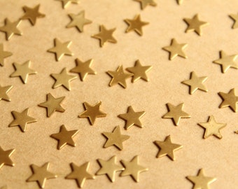 40 pc. Small Raw Brass Stars: 6mm by 6mm - made in USA | RB-786
