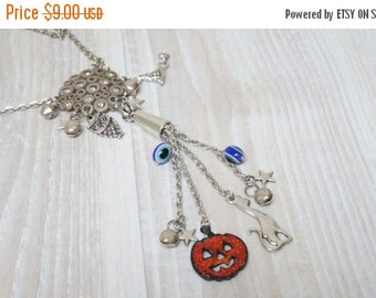 CIJ SALE Halloween Necklace goth jewelry set extra long pendant orange charm pumpkin which hat owl black cat stars jingle bells evil eye sil