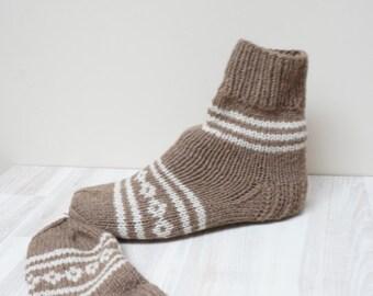 Socks Stockings hand knitted Leg warmer brown Christmas milk white size 6 7 8 handmade pattern ready to ship Wool woman scandina