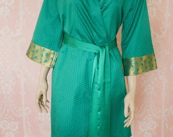 Teal and Celadon. Green soft faux silk brocade robe in tonal greens. Silk brocade robe. Medium. Silk brocade dressing gown.