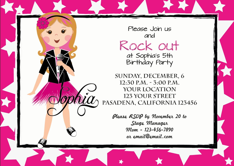 Printable Invitation/Birthday Party Invitation/Rockstar Party ...