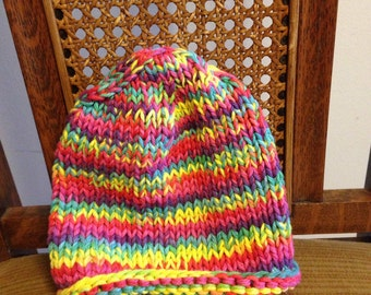 Rainbow knit toddler hat