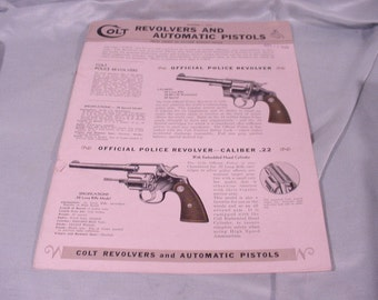 Pamphlet Brochure for Colt Revolvers Automatic Pistols Dated 1941