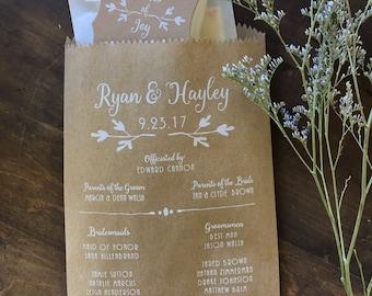 Wedding Program Bags, Custom Bridal Favor & Personalized Programs bags, Confetti or Favor Bags, set of 25