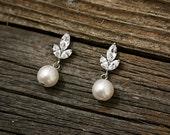 Bridal Earrings - CZ Swarovski Round Pearl Earrings  Bridesmaids -Ivory Pearl Bridal Earrings - Norah