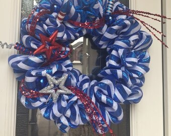 Summer, Fourth of July Deco Mesh Wreath Patriotic, Labor, flag Day, 4th of July