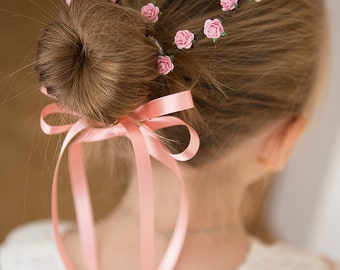 Pink Rose 'Bunny Ears Wrap' - for HAIR BUNS