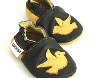 soft sole baby shoes infant kids children bird yellow black 6 12 bebes fille cuir souple chaussons Krabbelschuhe porter ebooba BR-6-B-T-2