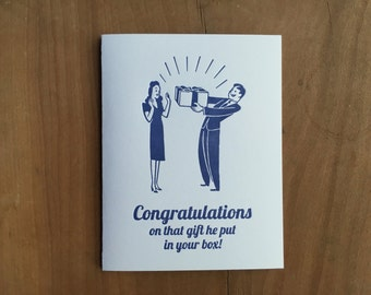 Congratulations on that gift…Funny Pregnancy New Baby congratulations letterpress greeting card.