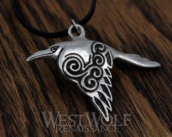 Celtic Raven Pendant / Silver Crow - Norse/Viking/Medieval/Irish/Jewelry