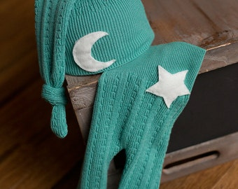Upcycled Newborn Pants and Hat with Moon and Star Neutral Newborn Photography Prop Ready to Ship
