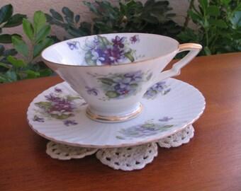"Vintage LEFTON ""Sweet Violets"" China Cup and Saucer"