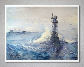 Waves and Lighthouse Watercolor Painting by Faruk Koksal -  Print on 290 gr. Textured Fine Art Paper