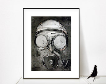 Gas Mask, Steampunk, Watercolor Print, Watercolor art, watercolor, watercolor giclee, steampunk gas mask, streampunk art, cool art, print