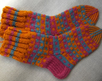 Hand knit large size wool socks