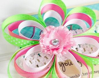 ON SALE Flower Headband, Lime Green, Pink, Polka Dots on White Crochet