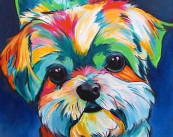 Shih Tzu, Art, Dog Art, Shih Tzu Lovers, Dog Lovers, Gifts, Colorful Dog Painting, Pet Portrait, Modern Dog, Pop Art, Print, Canvas