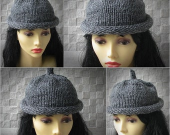Parisian style, Winter Hat Kniited Beanie Hat, Knit Hat for Women Knit Hats Women Grey Women Hat