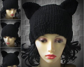 Winter Hat Knit Cat Ear Hat, Cat Ear Beanie, Black Cat Beanie, Chunky Knit Cat Hat, Halloween Costume