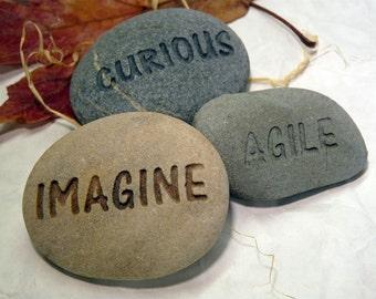Three Custom Engraved Natural Stones