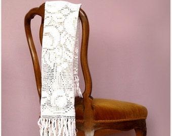 SALE Antique Cotton Crochet Runner , White Handmade Lace Runner
