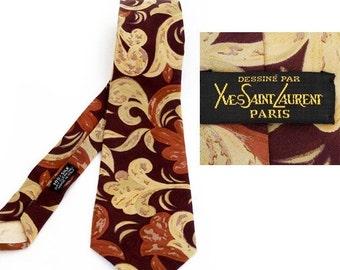 SALE Authentic Yves Saint Laurent Paris necktie , Haute Couture Designer Man Tie ,Vintage Silk Necktie