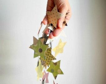 Polka dots star garland, earth tone colors decor, green pink brown star party decor, multicolor nursery garland,home decor