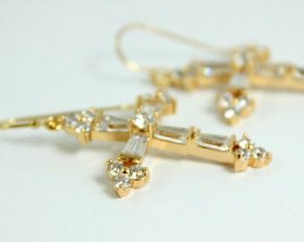 Large Cross Earrings Women Gold Filled Big Crystal Crosses  Dangling Drop Earring High Quality Jewelry Gift