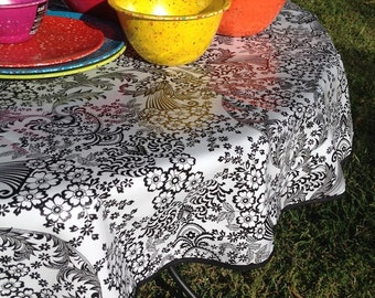 """60"""" Oilcloth Tablecloth Round BLACK Toile Lace (WITH HOLE) Black Trim Oil Cloth Pool Beach Patio Bbq Party Holiday Rv Camper Outdoor USAmade"""