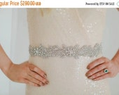End of Line 50% Leila Sash - Fine Embroidered Crystal Bridal Belt Headpiece