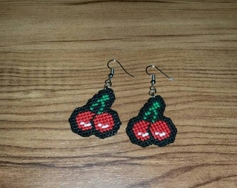 Cherry Cross Stitched Earrings