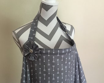Grey arrows Nursing Cover - grey and white arrows print breastfeeding cover hooter hider with a fabric flower clippie- ready to ship