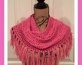 Bubble Gum Infinity Crochet Scarf with Fringe©