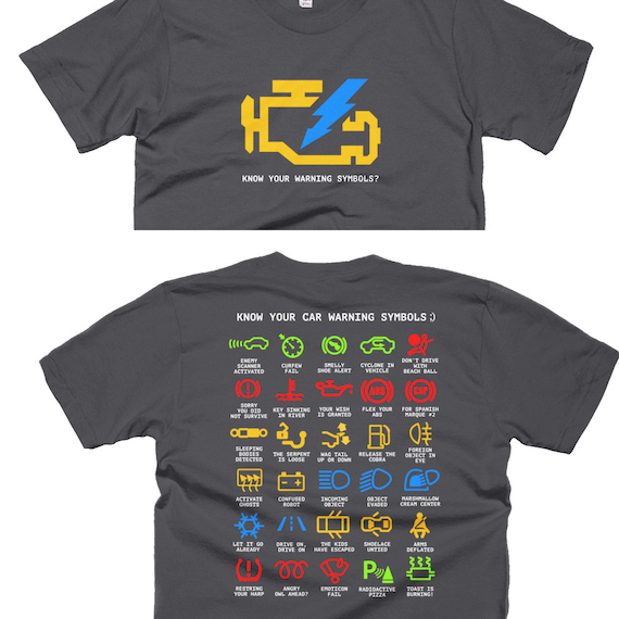 Know Your Warning Symbols (Funny Translations - Automobile) T-Shirt (Front and Back)